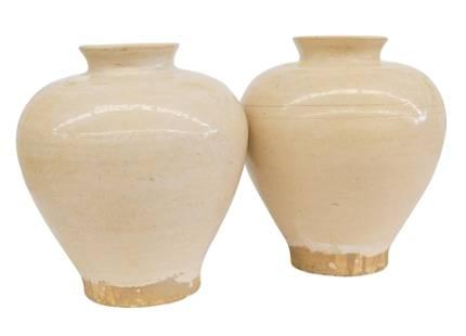 Chinese Pale Cream Vases