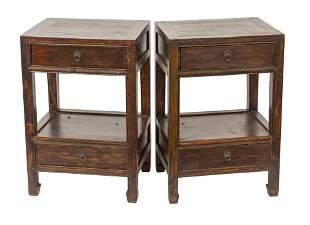 Chinese Dark Elm Bedside Tables