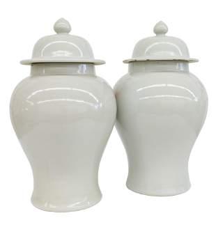 Chinese Celedon Temple Jars