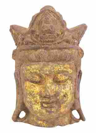 Small 19th Century Chinese Iron Buddha Head