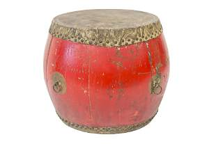 Chinese Red Lacquered Drum