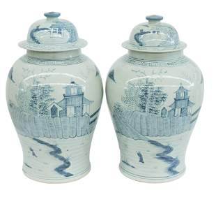 Large Chinese Blue & White Temple Jars