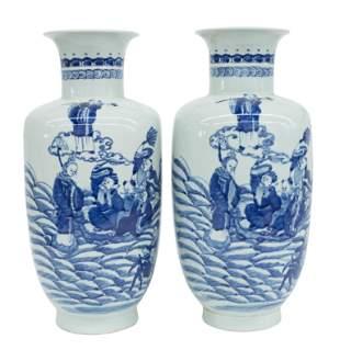 Chinese Blue & White Stoneware Vases