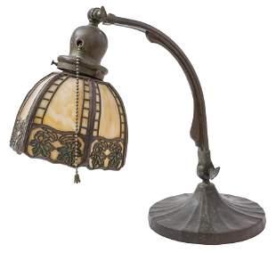 Bronze Handel Slag Glass Desk Lamp