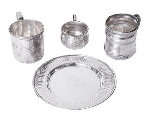 Sterling Silver Plate and Baby Cups