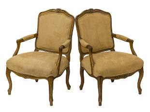 Country French Suede Lounge Chairs