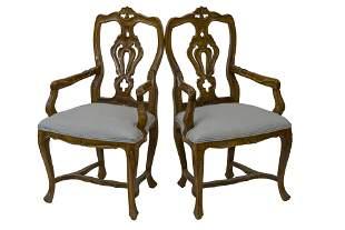 Italian Walnut Arm Chairs