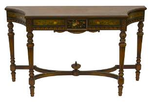 Imperial Walnut Hand Painted Console