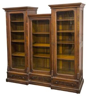 Victorian Triple Walnut Bookcase