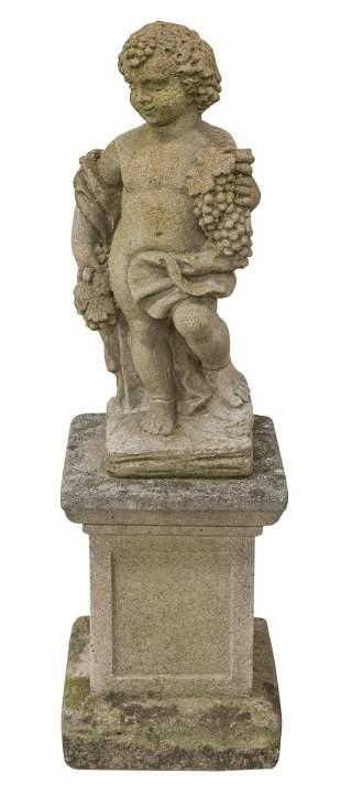 Garden Statue of Young Boy