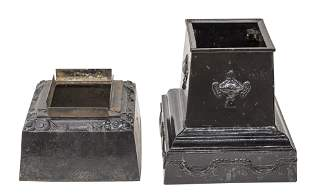 Two Cast Iron Urn Bases