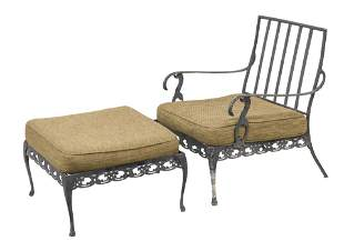 Woodard Cast Aluminum Lounge Chair & Ottoman