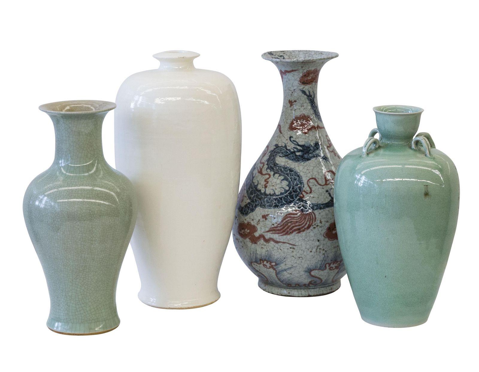 Chinese Celedon and Stoneware Vases
