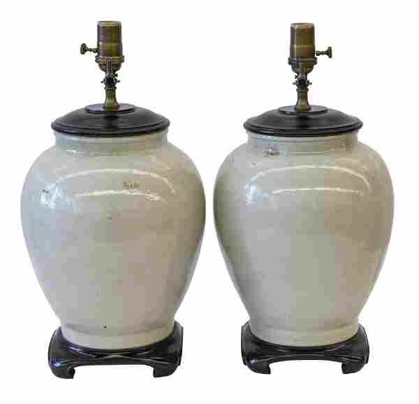 Chinese Glazed Stoneware Table Lamps