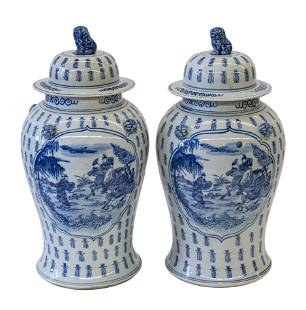 Chinese Canton Temple Jars
