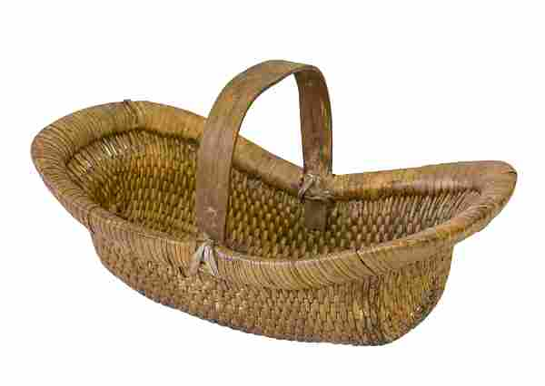 Chinese Hand Woven Oval Basket with Handle