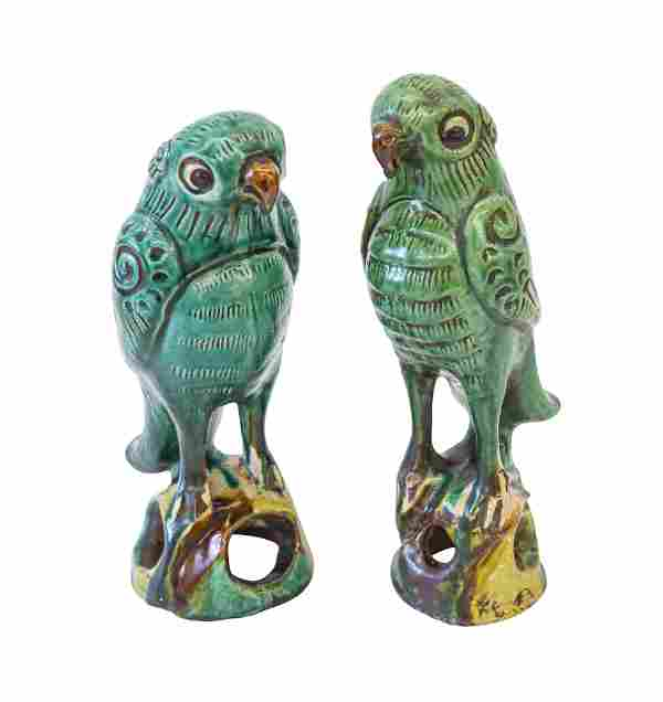 19th Century Chinese Parrot Incense Burners