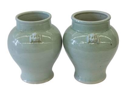 Chinese Celedon Vases with Dog Handles