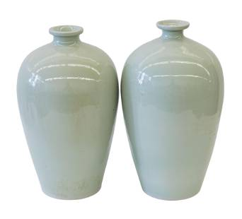 Chinese Celedon Meiping Vases