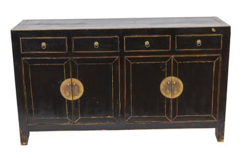 Chinese Ebonized Elmwood Cabinet