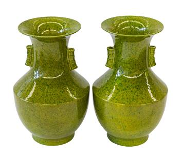 Chinese Glazed Stoneware Flared Vases