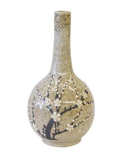 Chinese Bud Vase with Applied Prunus Decoration
