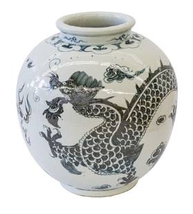 Large Chinese Globular Jar with Dragon