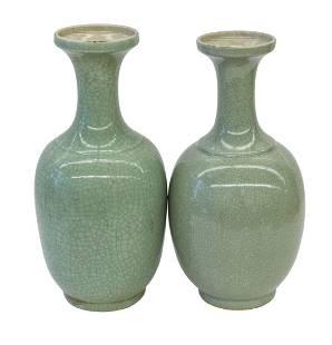 Chinese Crackle Glaze Celedon Vases