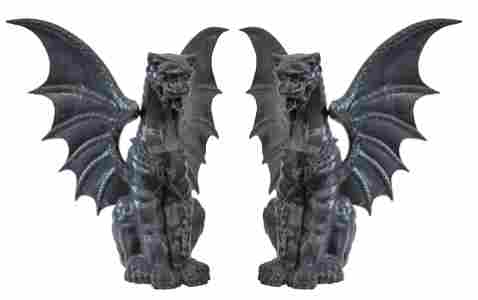 Outstanding Cast Iron Winged Gargoyles
