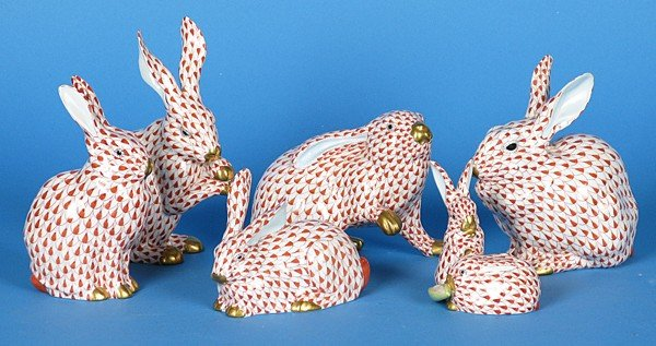 12: Six Herend Bunnies