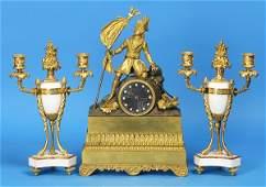 223 Three Piece Bronze French Clock Set