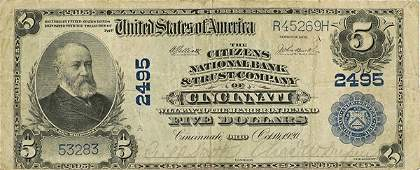 253 Large Five Dollar Note