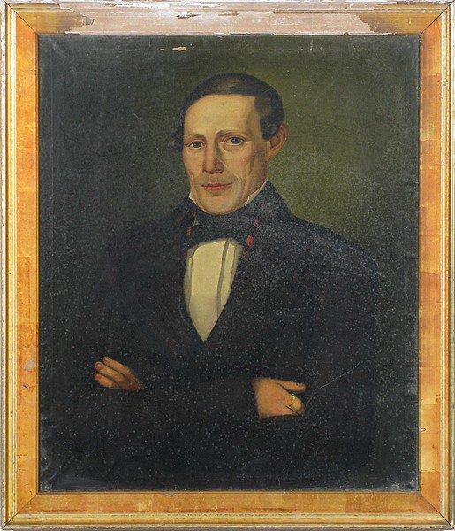 1: 19th Oil/Canvas Portrait of Man