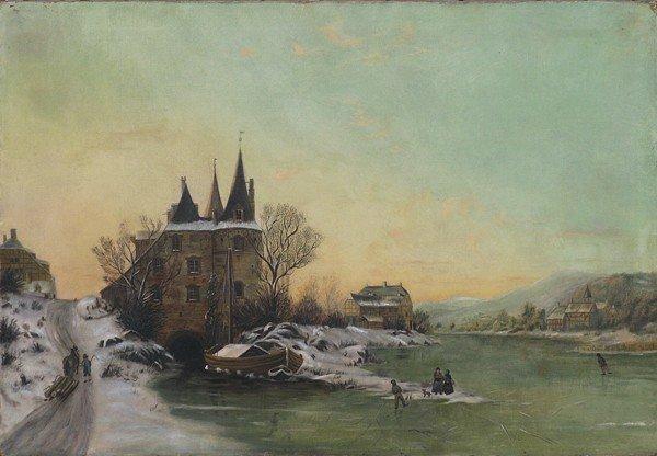 2: 19c Oil/Canvas Folk Art Painting