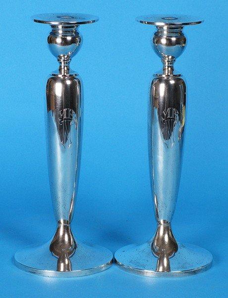 24: Pair Sterling Candlesticks