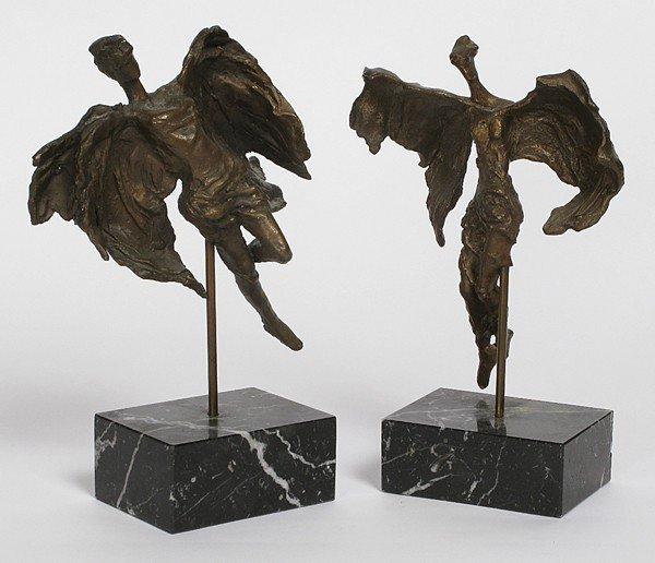 63: Pair Bronze Angels
