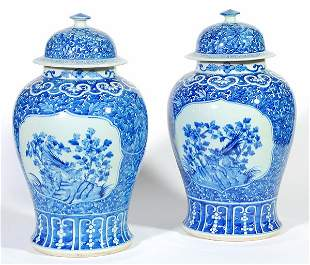 20th C. Canton Jars with Lids