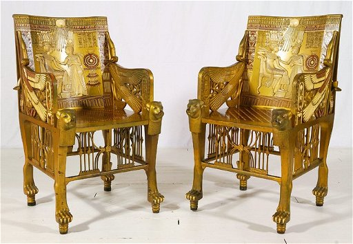 Pair Egyptian Throne Chairs