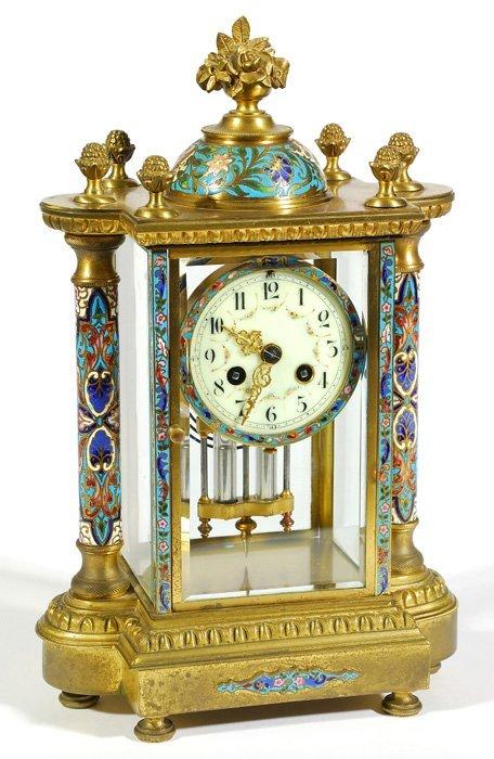 French Cloisonné Crystal Regulator Clock