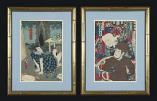Two Japanese Woodblocks.     Kunichika (1835-1900)