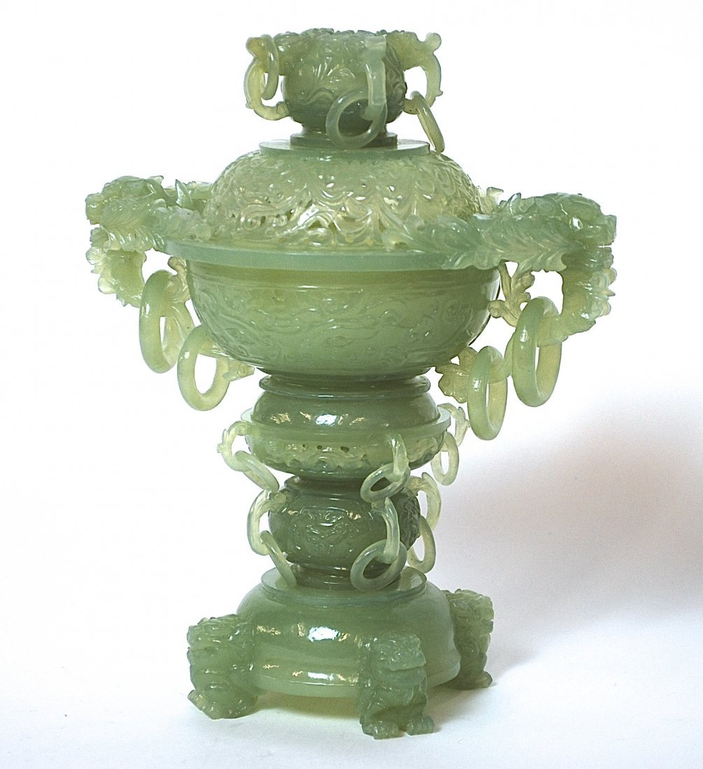 19th Century Chinese Jade Censor