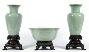 Chinese Celadon Mantle Set
