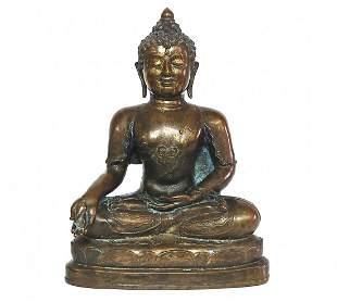 Important 14th Century Thai Bronze Seated Buddha