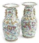 19th Century Rose Medallion Vases