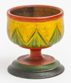 Decorated Treen Footed Cup