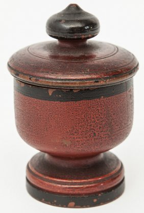 Early Treen Footed & Lidded Jar
