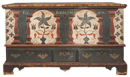 1791 Decorated Berks County Dower Chest