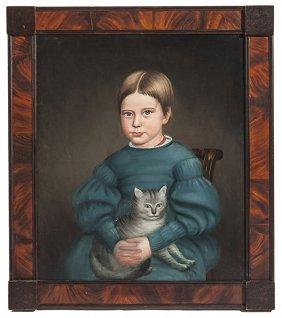 Folk Art Portrait Of Girl & Kitten
