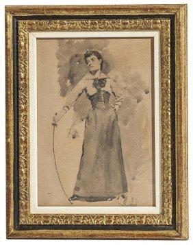 Frank Duveneck (1848-1919) Watercolor