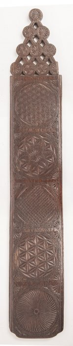 1702 Folk Art Carved Feather Tick Smoothing Board